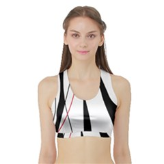 Red, White And Black Elegant Design Sports Bra With Border by Valentinaart