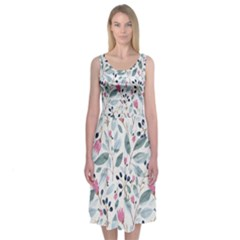 Watercolor Wood Midi Sleeveless Dress by Contest2494934