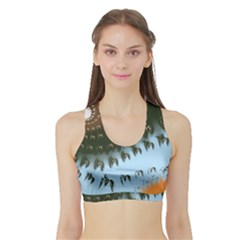 Sun-ray Swirl Design Sports Bra With Border by digitaldivadesigns