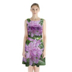 Purple Rhododendron Flower Sleeveless Chiffon Waist Tie Dress by picsaspassion