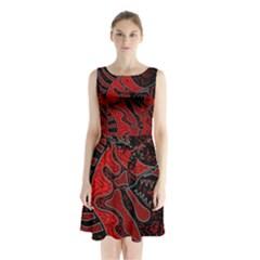 Red Dragon Sleeveless Chiffon Waist Tie Dress by Valentinaart
