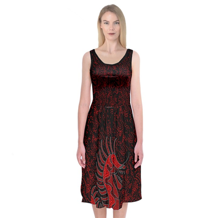 Red dragon Midi Sleeveless Dress