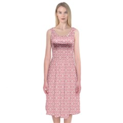 Pink Ikat  Midi Sleeveless Dress by Contest2481019