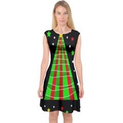 Xmas Tree  Capsleeve Midi Dress by Valentinaart