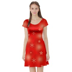 Red Xmas Desing Short Sleeve Skater Dress by Valentinaart