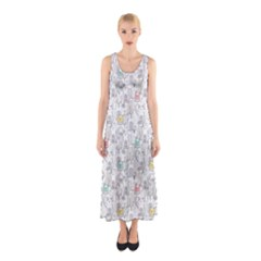 Doodle Cats  Sleeveless Maxi Dress by Mishacat