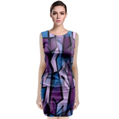 Purple Decorative Abstract Art Classic Sleeveless Midi Dress by Valentinaart
