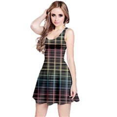Neon Plaid Design Reversible Sleeveless Dress by Valentinaart