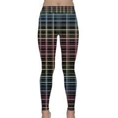 Neon Plaid Design Yoga Leggings  by Valentinaart