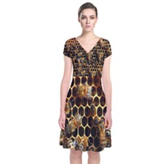 Bees On A Comb Short Sleeve Front Wrap Dress