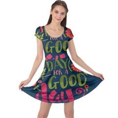 C mon Get Happy With A Bright Floral Themed Print Cap Sleeve Dresses