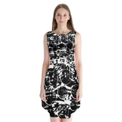 Black And White Confusion Sleeveless Chiffon Dress   by Valentinaart