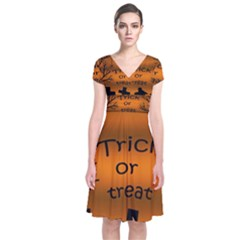 Trick Or Treat   Cemetery  Short Sleeve Front Wrap Dress