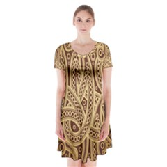 European Fine Pattern Short Sleeve V Neck Flare Dress by AnjaniArt