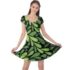 Free Green Nature Leaves Seamless Cap Sleeve Dresses by AnjaniArt
