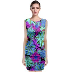 Vibrant Floral Collage Print Classic Sleeveless Midi Dress by dflcprintsclothing