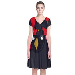 Halloween   Old Raven Short Sleeve Front Wrap Dress by Valentinaart