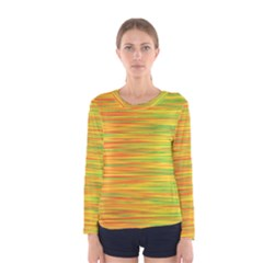 Green And Oragne Women s Long Sleeve Tee by Valentinaart