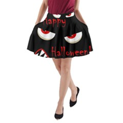 Happy Halloween   Red Eyes Monster A Line Pocket Skirt by Valentinaart