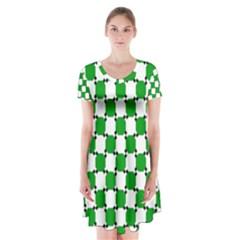 Optical Illusion Short Sleeve V Neck Flare Dress by AnjaniArt