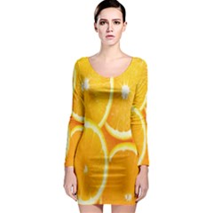 Orange Fruit Long Sleeve Bodycon Dress
