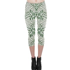 Green Snake Texture Capri Leggings  by RespawnLARPer