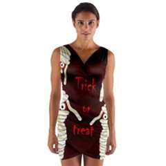 Halloween Mummy Wrap Front Bodycon Dress by Valentinaart