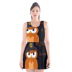 Halloween Witch   Orange Owl Scoop Neck Skater Dress by Valentinaart