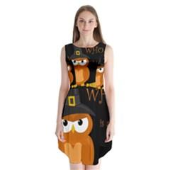 Halloween Witch   Orange Owl Sleeveless Chiffon Dress   by Valentinaart