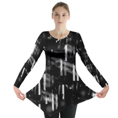 Black And White Neon City Long Sleeve Tunic  by Valentinaart