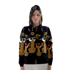 Giraffe Halloween Party Hooded Wind Breaker (women) by Valentinaart