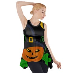 Halloween Witch Pumpkin Side Drop Tank Tunic by Valentinaart