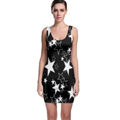 Star Black White Sleeveless Bodycon Dress by AnjaniArt