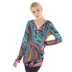Brilliant Abstract In Blue, Orange, Purple, And Lime Green  Women s Tie Up Tee by digitaldivadesigns