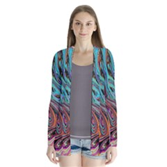 Brilliant Abstract In Blue, Orange, Purple, And Lime-green  Drape Collar Cardigan by digitaldivadesigns