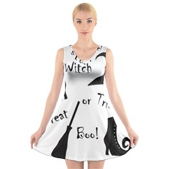 Halloween Witch V Neck Sleeveless Skater Dress by Valentinaart