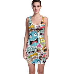 Weird Faces Pattern Sleeveless Bodycon Dress by AnjaniArt