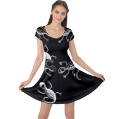 Black And White Lizards Cap Sleeve Dresses