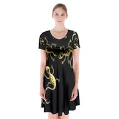 Yellow Lizards Short Sleeve V Neck Flare Dress by Valentinaart