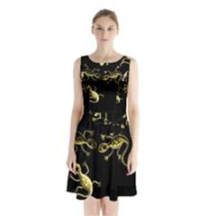 Yellow Lizards Sleeveless Chiffon Waist Tie Dress by Valentinaart