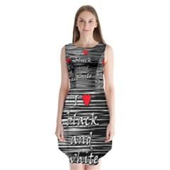 I Love Black And White 2 Sleeveless Chiffon Dress   by Valentinaart