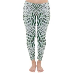 Green Snake Texture Winter Leggings  by LetsDanceHaveFun