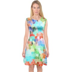 Colorful Mosaic  Capsleeve Midi Dress by designworld65