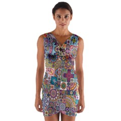 Ornamental Mosaic Background Wrap Front Bodycon Dress by TastefulDesigns