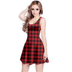 Lumberjack Plaid Fabric Pattern Red Black Reversible Sleeveless Dress by EDDArt