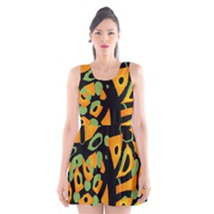 Abstract Animal Print Scoop Neck Skater Dress by Valentinaart