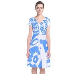Blue Summer Design Short Sleeve Front Wrap Dress by Valentinaart