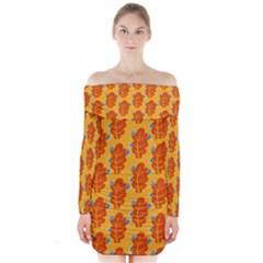 Bugs Eat Autumn Leaf Pattern Long Sleeve Off Shoulder Dress by CreaturesStore