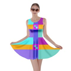 Right Angle Squares Stripes Cross Colored Skater Dress by EDDArt