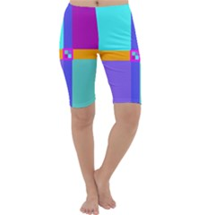 Right Angle Squares Stripes Cross Colored Cropped Leggings  by EDDArt
